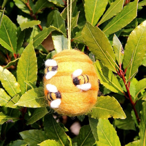Handmade Hanging Busy Beehive Felt Biodegradable Decoration