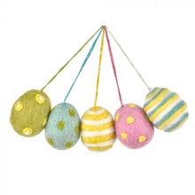 Load image into Gallery viewer, Handmade Needle Felt Easter Eggs (Bag of 5) Hanging Easter Decoration