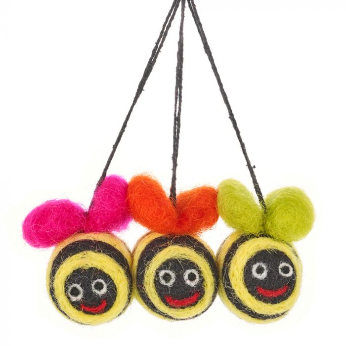 Handmade Hanging Mini Bumblebees (Bag of 3) Felt Easter Decorations