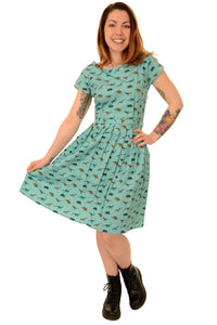 Tartan Dinosaur Tea Party Dress