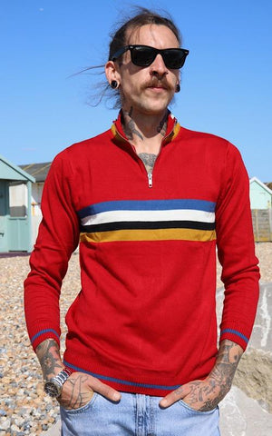 Red Retro Zip Neck Jumper