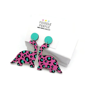 Pink with Turquoise Leopard print Dinosaur Earrings