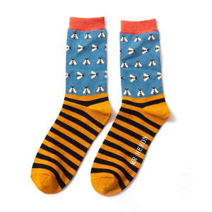 Mr Heron Busy Bees Teal Bamboo Socks