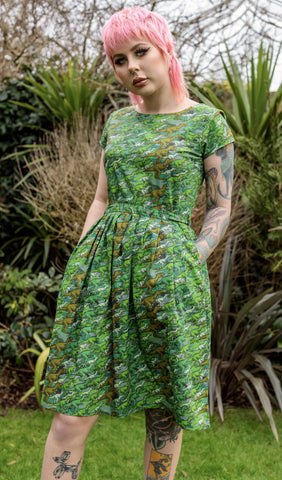 Camo Dino Belted Tea Dress with Pockets