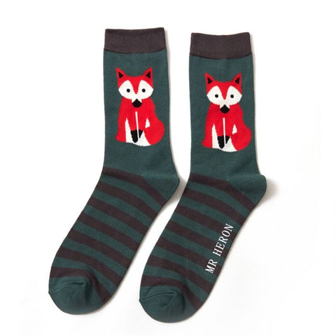 Mr Hero Fox & Green Stripes Bamboo Socks