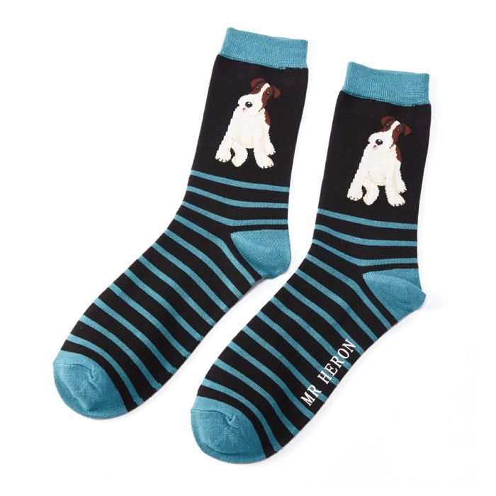 Mr Heron Fox Terrier Stripes Black Bamboo Socks