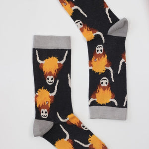 Sock Therapy men's' highland cow' bamboo socks