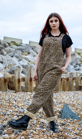 Natural Leopard Twill Dungarees