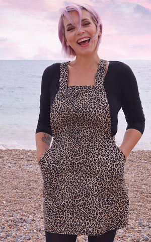 Natural Leopard Print Pinafore Dress