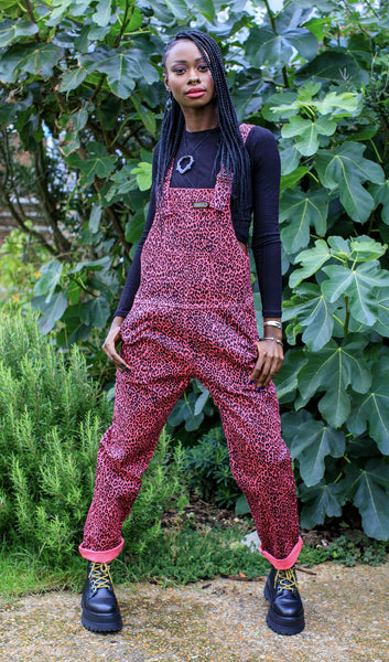 New Pink - Leopard Print twill Dungarees