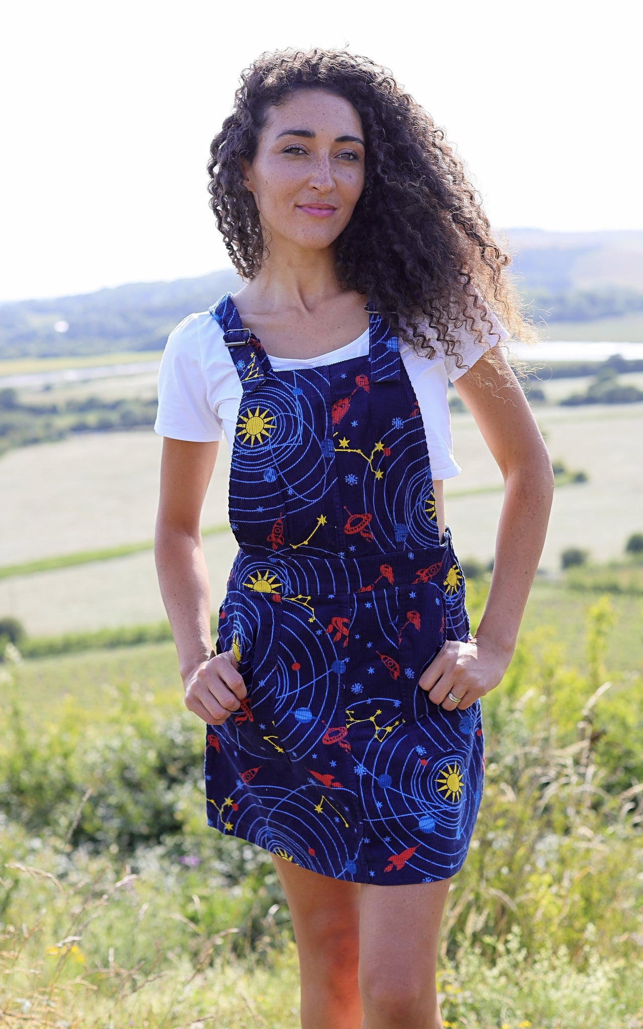 Corduroy Outta This World Pinafore Dress