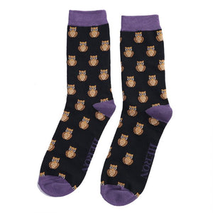 Mr Heron Owls Black Bamboo Socks