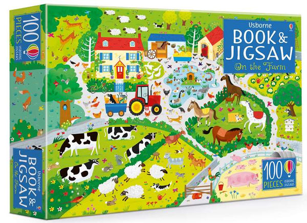 100 Piece Jigsaw and Book - Usborne - On the Farm
