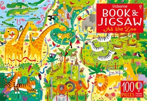 100 Piece Jigsaw and Book - Usborne - At the Zoo