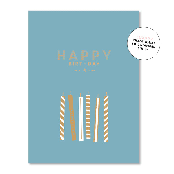 Just Smitten Luxury Card - Blue Candles