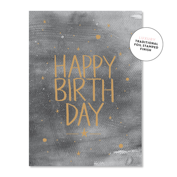 Just Smitten Luxury Card - Happy Birthday Charcoal