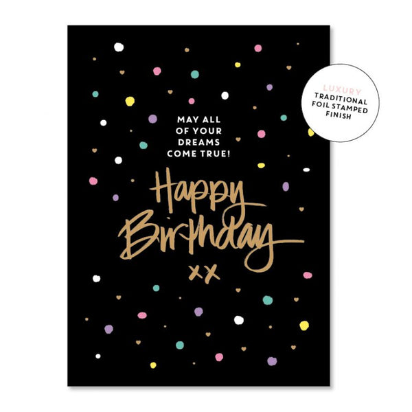 Just Smitten Luxury Card - Happy Birthday Black with Spots