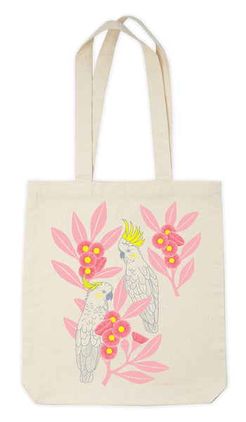 Earth Greetings Tote Bag - Silver Gum Cockatoos