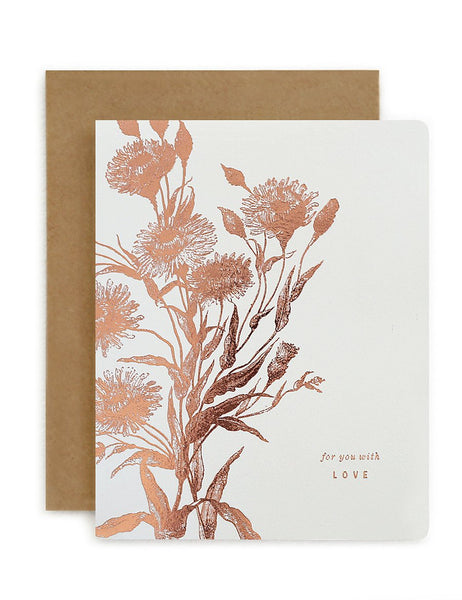 Bespoke Letterpress - Botanical For You With Love White