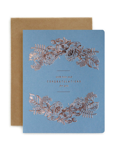 Bespoke Letterpress - Botanical Congratulations Blue
