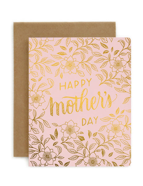 Bespoke Letterpress - Happy Mother's Day Pink and Gold