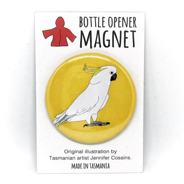 Red Parka Bottle Opener Magnet - Cockatoo