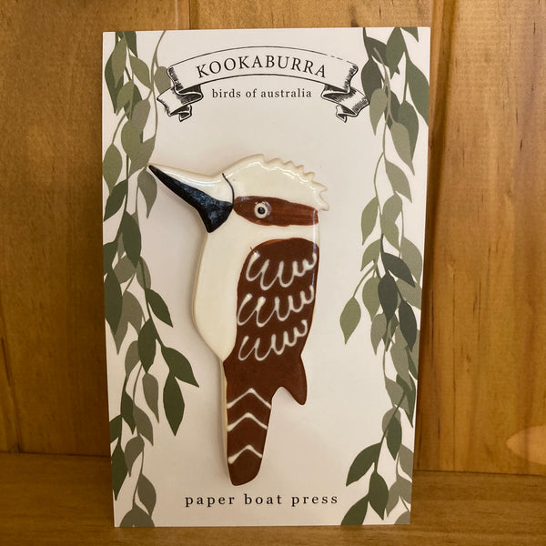 Paper Boat Press Brooch - Kookaburra