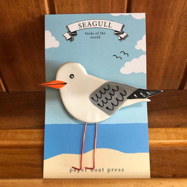 Paper Boat Press Brooch - Seagull