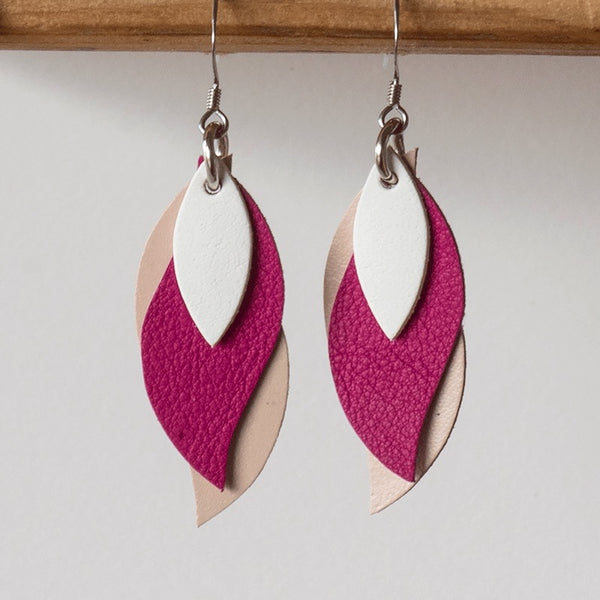KI and Co - White, Mulberry, Beige Leather Leaf Earrings