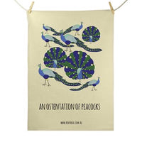 Red Parka Tea Towel - Ostentation of Peacocks