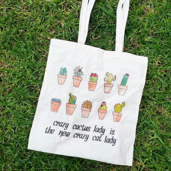 The Curious Cactus Tote Bag - Crazy Cactus Lady is the New Crazy Cat Lady