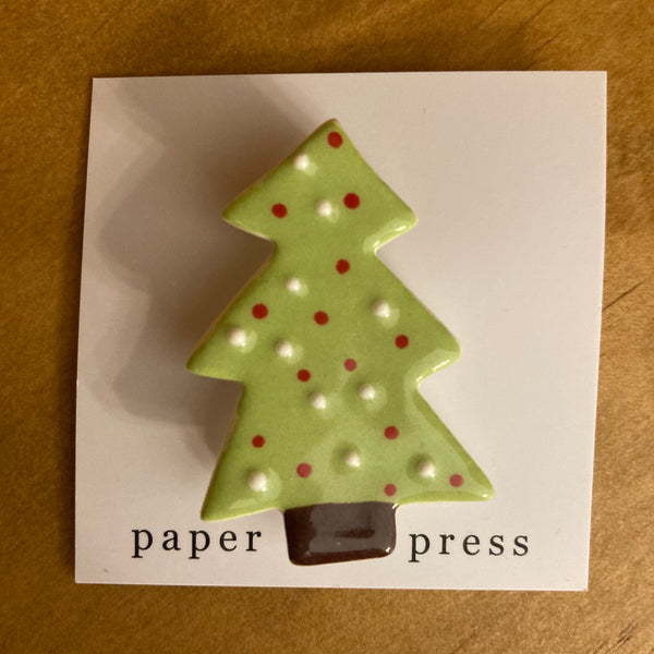 Paper Boat Press Brooch - Xmas Tree Bright Green