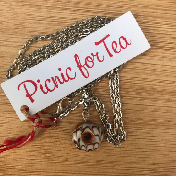 Picnic for Tea Donut Necklace - Vanilla-Choc Marble