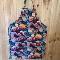 Mary Myrtle Apron - Teal with Hot Pink Flowers