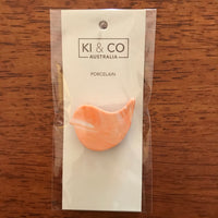 KI and Co Porcelain Bird Brooch - Orange