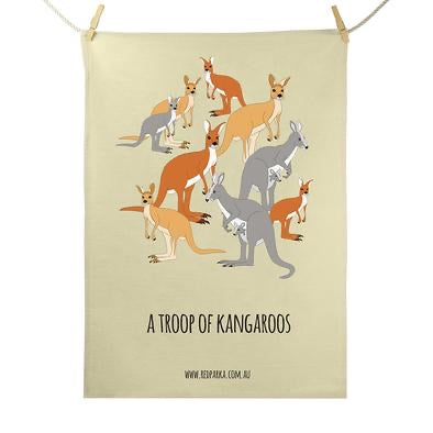 Red Parka Tea Towel - Troop of Kangaroos