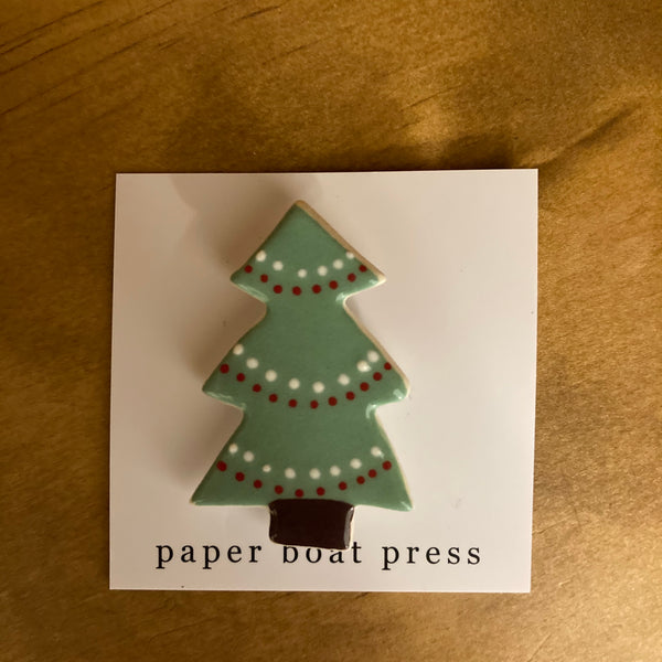 Paper Boat Press Brooch - Xmas Tree Green