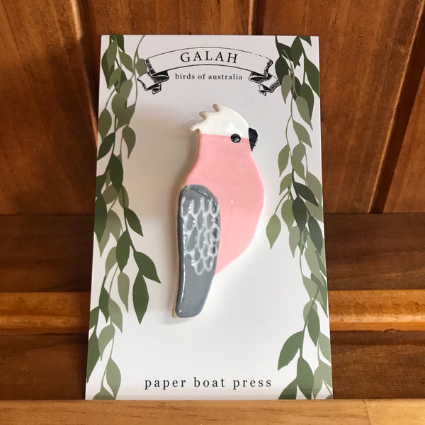 Paper Boat Press Brooch - Galah