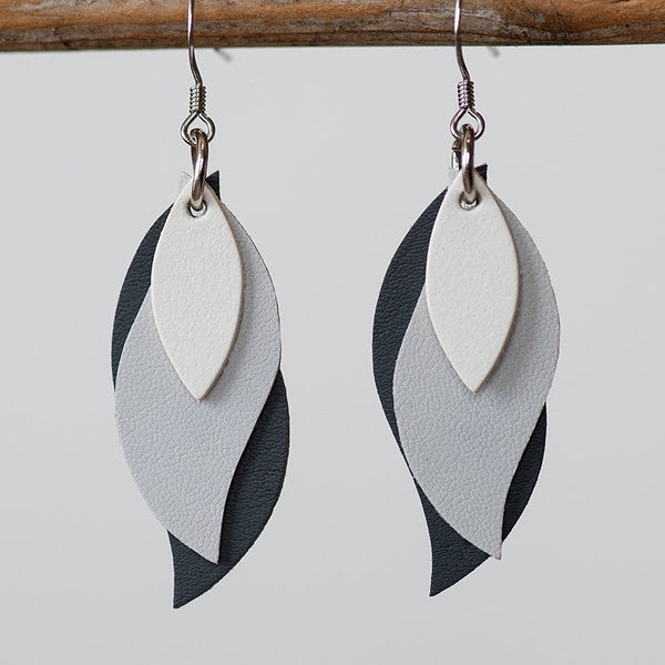 KI and Co - Warm White and Greys Leather Leaf Earrings