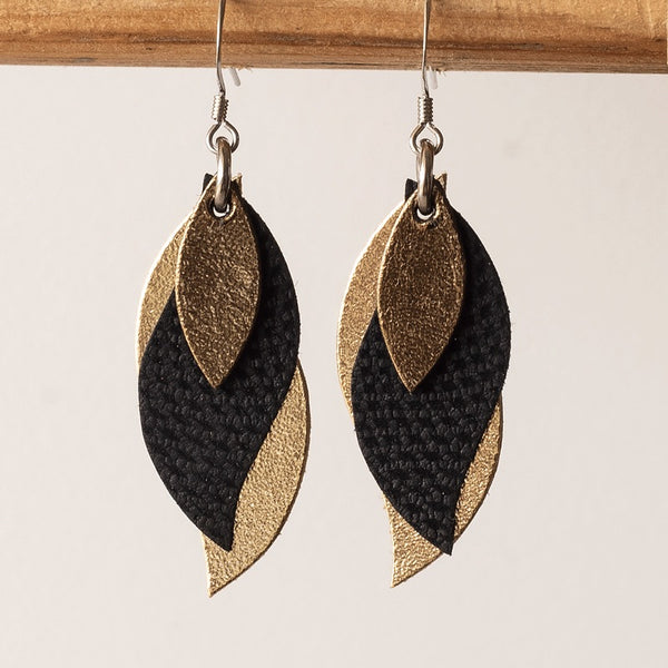 KI and Co - Golds and Diamond Black Leather Leaf Earrings