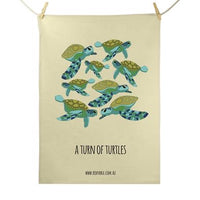 Red Parka Tea Towel - Turn of Turtles