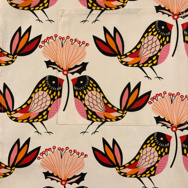 Mary Myrtle Apron - Pink with Birds