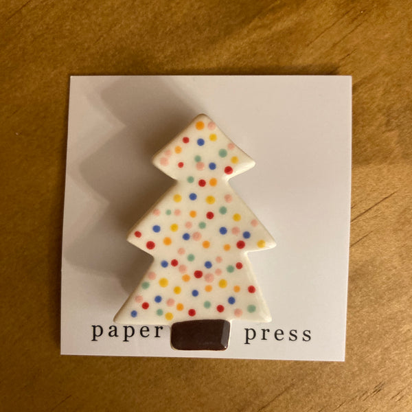 Paper Boat Press Brooch - Xmas Tree White