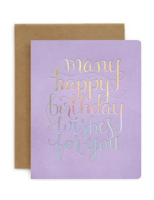 Bespoke Letterpress - Many Happy Birthday Wishes