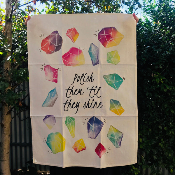 The Curious Cactus Tea Towel - Polish Them 'Til They Shine