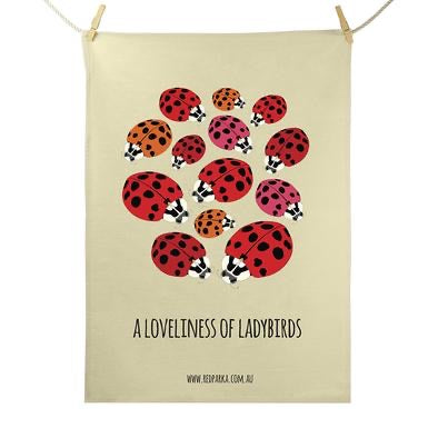 Red Parka Tea Towel - Loveliness of Ladybirds