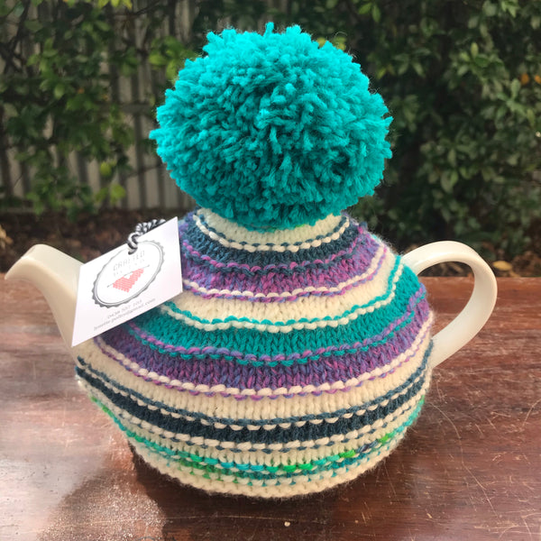 Knitted Tea Cosy - Striped with Aqua Pom Pom