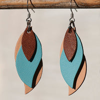 KI and Co Leather Leaf Earrings - Brown, Blue and Tan