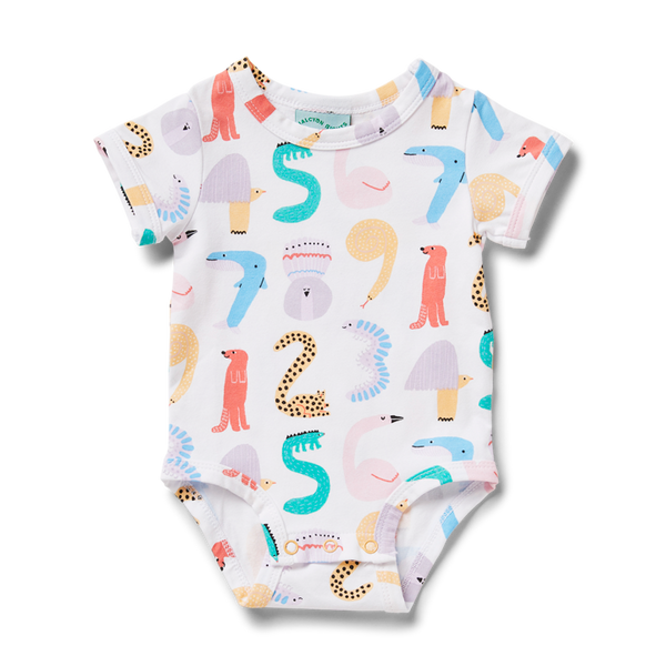 Halcyon Nights Short Sleeve Bodysuit - Animals Counting