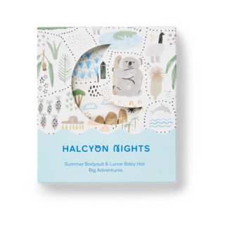 Halcyon Nights Gift Pack - Big Adventures (Baby Hat & Short Sleeve Bodysuit)